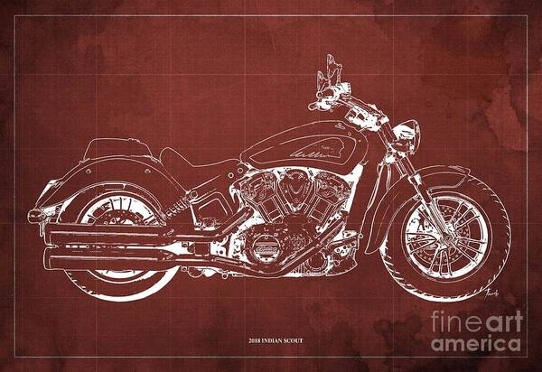 Wall Art - Digital Art - 2018 Indian Scout Blueprint Vintage Red Background by Drawspots Illustrations