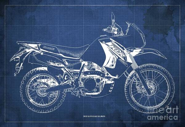 Wall Art - Digital Art - 2018 Kawasaki Klr650 Blueprint Vintage Blue Background Original Artwork by Drawspots Illustrations