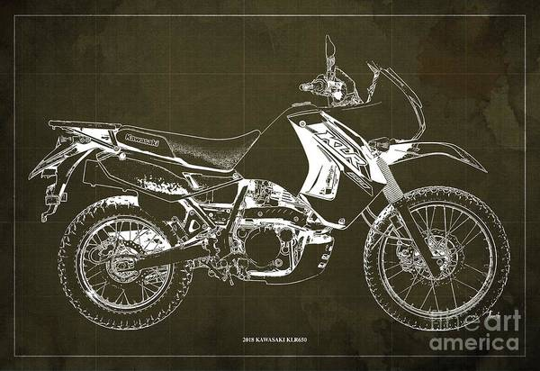 Wall Art - Digital Art - 2018 Kawasaki Klr650 Blueprint Vintage Brown Background Original Artwork by Drawspots Illustrations