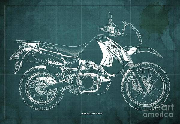 Wall Art - Digital Art - 2018 Kawasaki Klr650 Blueprint Vintage Green Background Original Artwork by Drawspots Illustrations