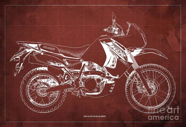 Wall Art - Digital Art - 2018 Kawasaki Klr650 Blueprint Vintage Red Background Original Artwork by Drawspots Illustrations