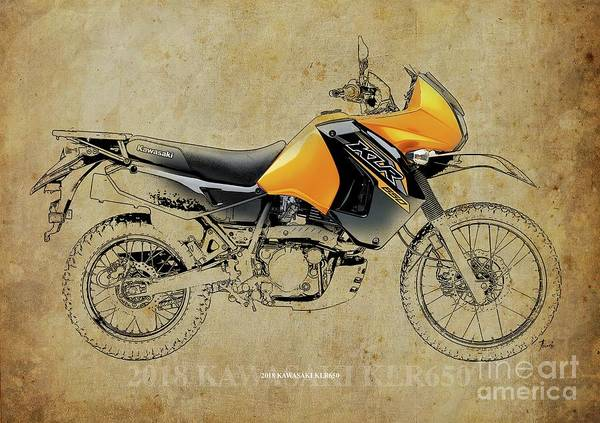 Wall Art - Digital Art - 2018 Kawasaki Klr650 Original Artwork by Drawspots Illustrations