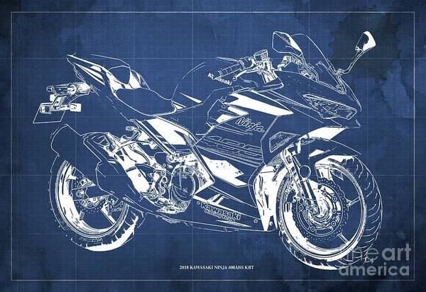 Wall Art - Digital Art - 2018 Kawasaki Ninja 400abs Krt Blueprint Vintage Blue Background by Drawspots Illustrations