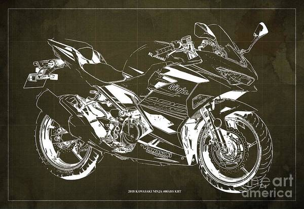 Wall Art - Digital Art - 2018 Kawasaki Ninja 400abs Krt Blueprint Vintage Brown Background by Drawspots Illustrations
