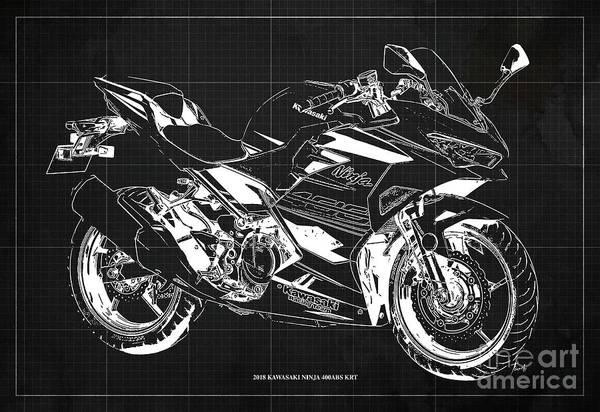 Wall Art - Digital Art - 2018 Kawasaki Ninja 400abs Krt Blueprint Vintage Dark Grey Background by Drawspots Illustrations