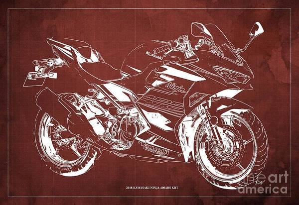 Wall Art - Digital Art - 2018 Kawasaki Ninja 400abs Krt Blueprint Vintage Red Background by Drawspots Illustrations