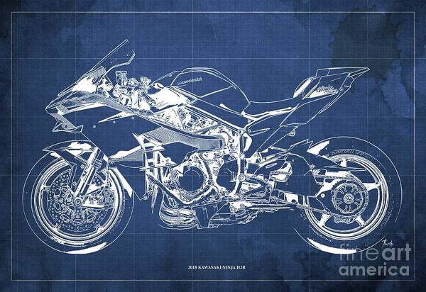 Wall Art - Digital Art - 2018 Kawasaki Ninja H2r Blueprint Vintage Blue Background Gift For Biker by Drawspots Illustrations