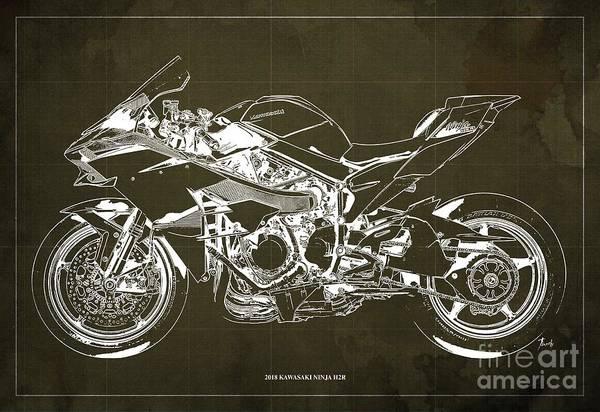 Wall Art - Digital Art - 2018 Kawasaki Ninja H2r Blueprint Vintage Brown Background Gift For Biker by Drawspots Illustrations