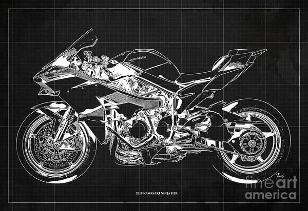 Wall Art - Digital Art - 2018 Kawasaki Ninja H2r Blueprint Vintage Dark Grey Background Gift For Biker by Drawspots Illustrations
