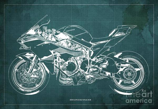 Wall Art - Digital Art - 2018 Kawasaki Ninja H2r Blueprint Vintage Green Background Gift For Biker by Drawspots Illustrations