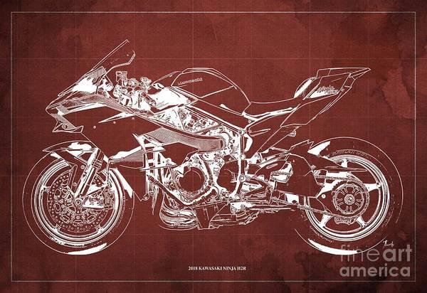 Wall Art - Digital Art - 2018 Kawasaki Ninja H2r Blueprint Vintage Red Background Gift For Biker by Drawspots Illustrations