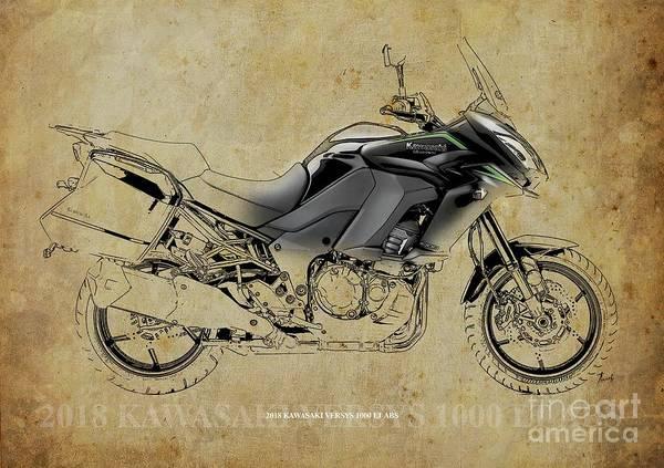 Wall Art - Digital Art - 2018 Kawasaki Versys 1000 Lt Abs Artwork Color And Black Lines by Drawspots Illustrations