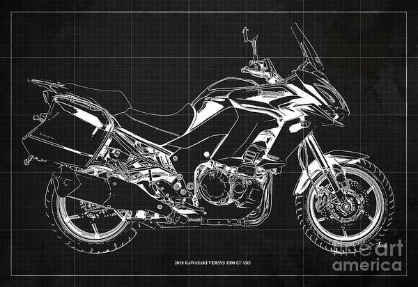 Wall Art - Digital Art - 2018 Kawasaki Versys 1000 Lt Abs Blueprint Old Vintage Dark Grey Background Original Artwork by Drawspots Illustrations