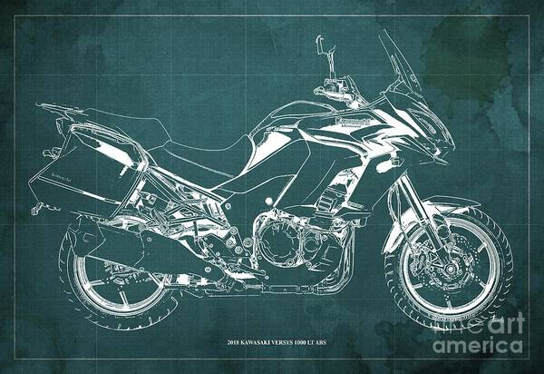 Wall Art - Digital Art - 2018 Kawasaki Versys 1000 Lt Abs Blueprint Old Vintage Green Background Original Artwork by Drawspots Illustrations