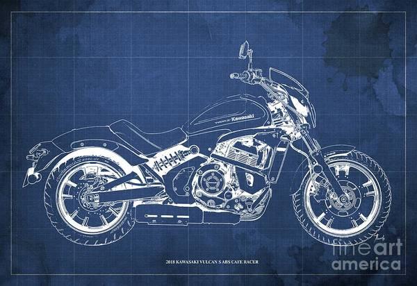 Vulcan Wall Art - Digital Art - 2018 Kawasaki Vulcan S Abs Cafe Racer Blueprint Old Vintage Blue Background Birthday Present For Bik by Drawspots Illustrations
