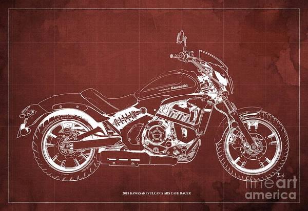 Vulcan Wall Art - Digital Art - 2018 Kawasaki Vulcan S Abs Cafe Racer Blueprint Old Vintage Red Background Birthday Present For Bike by Drawspots Illustrations