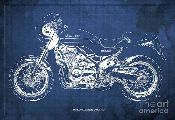 Wall Art - Digital Art - 2018 Kawasaki Z900rs Cafe Racer Blueprint Old Classic Blue Background Original Artwork by Drawspots Illustrations