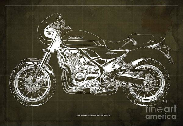 Wall Art - Digital Art - 2018 Kawasaki Z900rs Cafe Racer Blueprint Old Classic Brown Background Original Artwork by Drawspots Illustrations