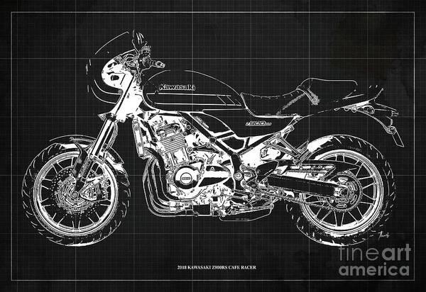 Wall Art - Digital Art - 2018 Kawasaki Z900rs Cafe Racer Blueprint Old Classic Drark Grey Background Original Artwork by Drawspots Illustrations