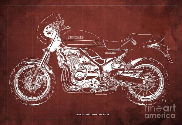 Wall Art - Digital Art - 2018 Kawasaki Z900rs Cafe Racer Blueprint Old Classic Red Background Original Artwork by Drawspots Illustrations