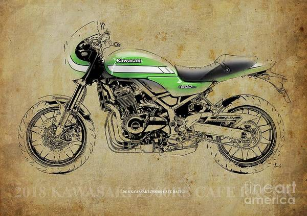 Wall Art - Photograph - 2018 Kawasaki Z900rs Cafe Racer Vintage Portrait Color And Bw by Drawspots Illustrations
