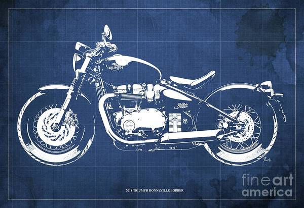 Wall Art - Digital Art - 2018 Triumph Bonneville Bobber Blueprint, Blue Background by Drawspots Illustrations