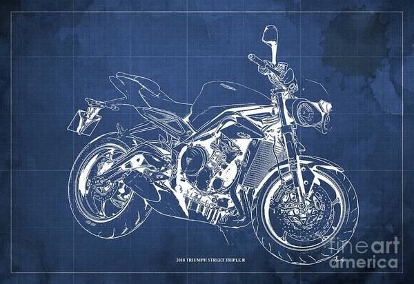 Wall Art - Digital Art - 2018 Triumph Street Triple R Blueprint, Vintage Blue Background,gift For Him by Drawspots Illustrations
