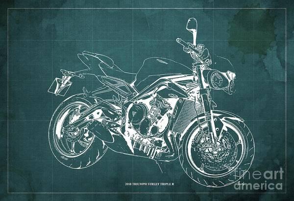 Wall Art - Digital Art - 2018 Triumph Street Triple R Blueprint, Vintage Green Background,gift For Him by Drawspots Illustrations