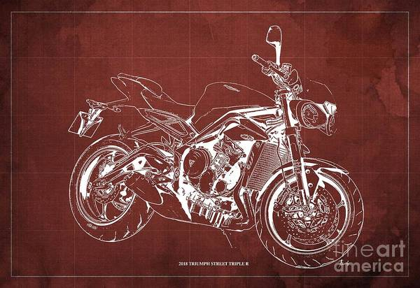 Wall Art - Digital Art - 2018 Triumph Street Triple R Blueprint, Vintage Red Background,gift For Him by Drawspots Illustrations
