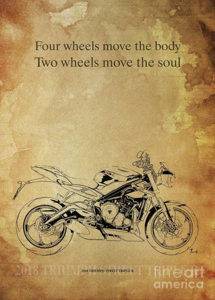 Wall Art - Drawing - 2018 Triumph Street Triple R,original Artwork. Motorcycle Quote by Drawspots Illustrations