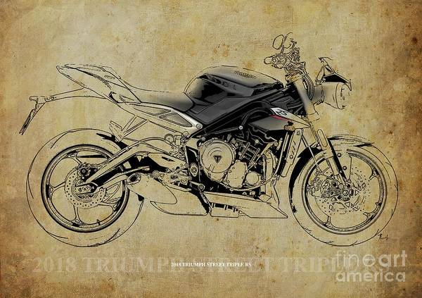 Wall Art - Digital Art - 2018 Triumph Street Triple Rs Blueprint, Vintage Background by Drawspots Illustrations