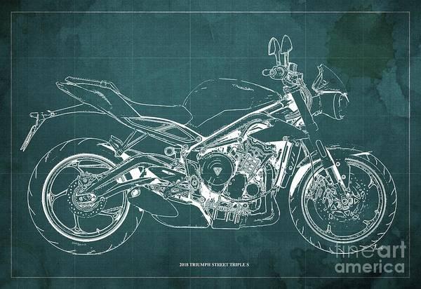 Wall Art - Digital Art - 2018 Triumph Street Triple S Blueprint, Vintage Green Background by Drawspots Illustrations