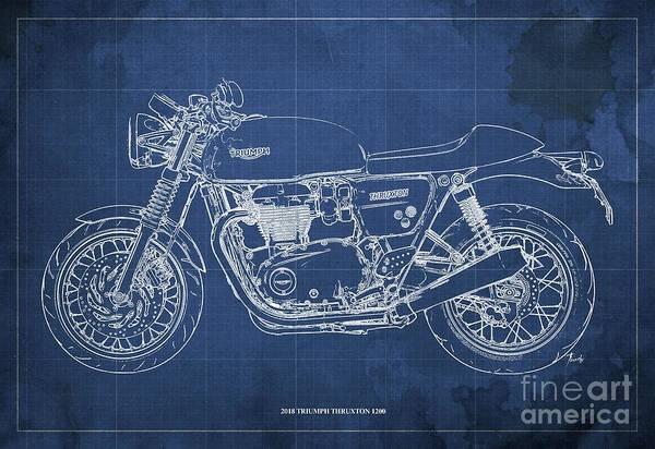 Wall Art - Digital Art - 2018 Triumph Thruxton 1200 Blueprint, Blue Background by Drawspots Illustrations