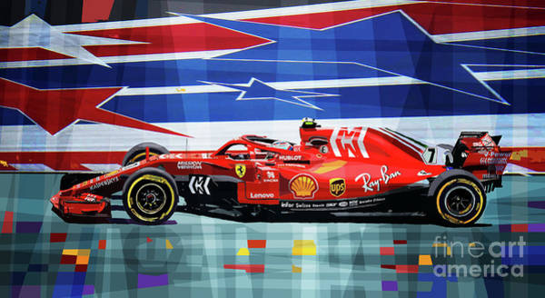 Car Mixed Media - 2018 Usa Gp Ferrari Sf71h Kimi Raikkonen Winner by Yuriy Shevchuk