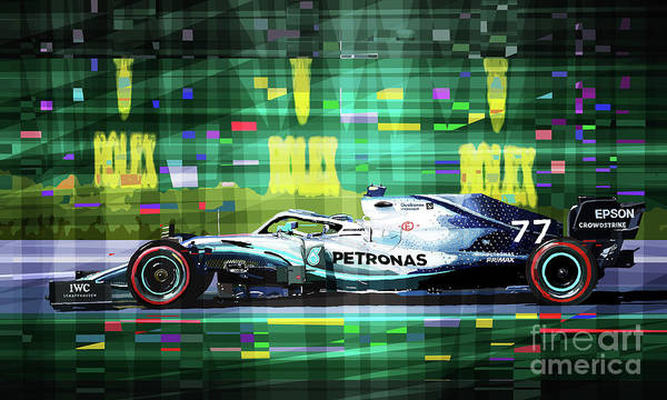 Mixed Media - 2019 Australian Gp Mercedes Bottas Winner by Yuriy Shevchuk