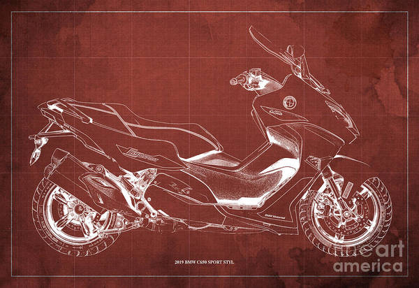 Fineartamerica Wall Art - Digital Art - 2019 Bmw C650 Sport Styl Blueprint, Original Motorcycles Blueprints, Vintage Red Background by Drawspots Illustrations