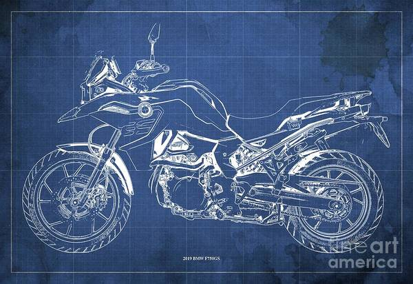 Fineartamerica Wall Art - Digital Art - 2019 Bmw F750gs Blueprint, Vintage Blue Background by Drawspots Illustrations
