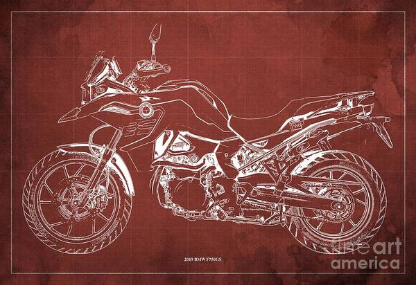 Wall Art - Digital Art - 2019 Bmw F750gs Blueprint, Vintage Rojo Background by Drawspots Illustrations