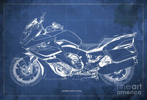 Wall Art - Digital Art - 2019 Bmw K1600 Gt Style Blueprint, Original Artwork For Bikers, Motorcycles Blueprints, Vintage Blue by Drawspots Illustrations