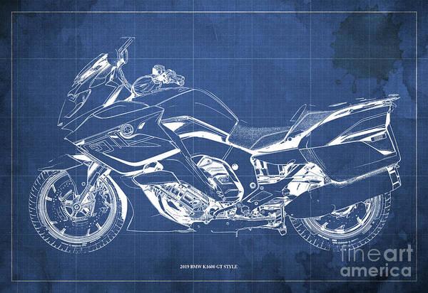 Black Friday Wall Art - Digital Art - 2019 Bmw K1600 Gt Style Blueprint, Original Artwork For Bikers, Motorcycles Blueprints, Vintage Blue by Drawspots Illustrations