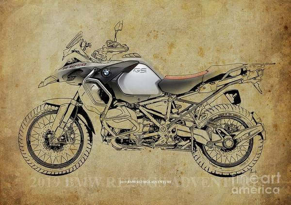 Wall Art - Digital Art - 2019 Bmw R1250gs Adventure  by Drawspots Illustrations
