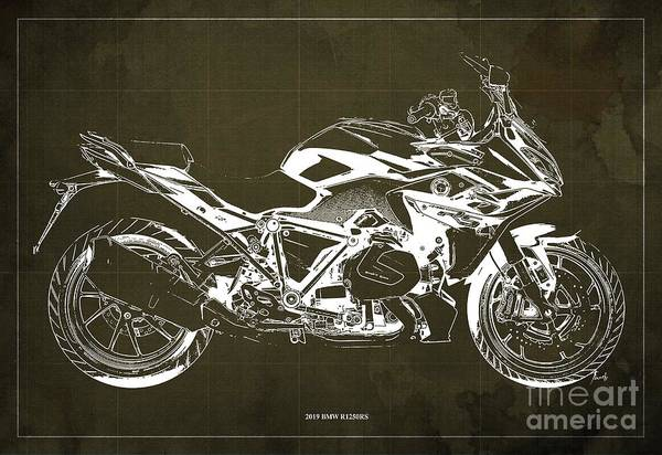 Wall Art - Digital Art - 2019 Bmw R1250rs Blueprint, Brown Background by Drawspots Illustrations