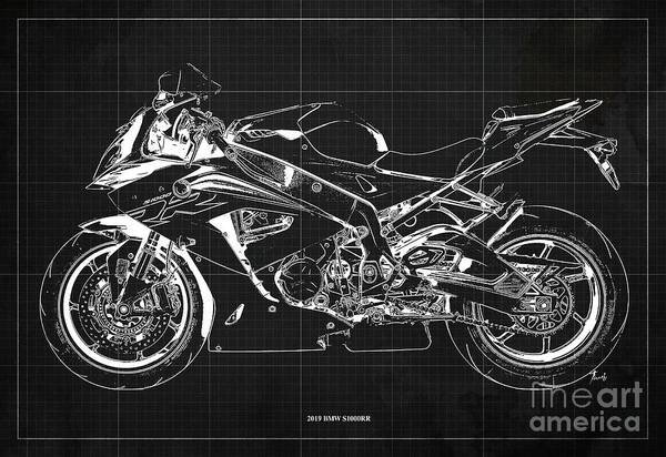 Wall Art - Digital Art - 2019 Bmw S1000rr Blueprint, Vintage Dark Grey Background, Giftideas by Drawspots Illustrations