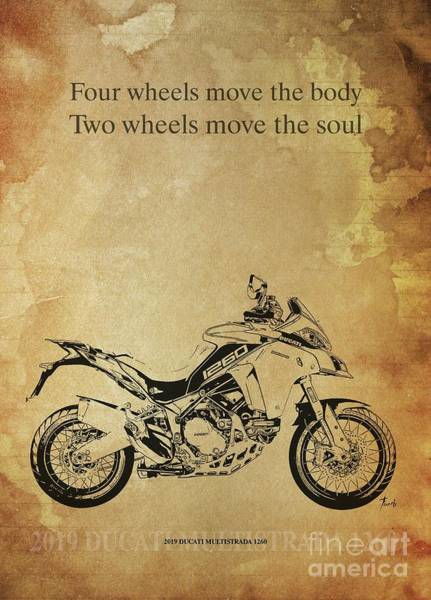 Wall Art - Drawing - 2019 Ducati Multistrada 1260 Original Artwork. Motorcycle Quote by Drawspots Illustrations