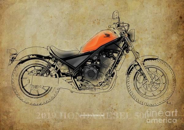 Black Friday Wall Art - Digital Art - 2019 Honda Rebel 500 Blueprint, Vintage Background,man Cave Decor by Drawspots Illustrations