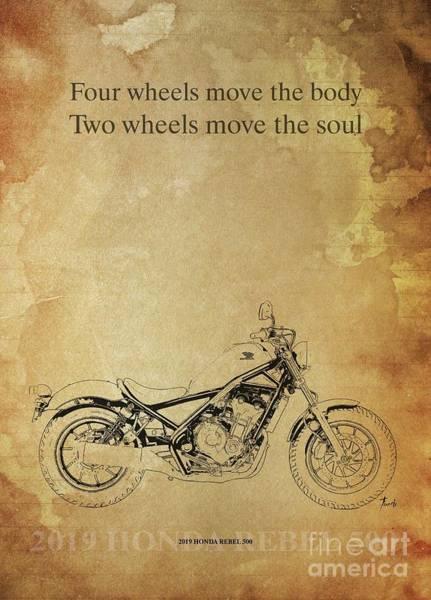 Wall Art - Drawing - 2019 Honda Rebel 500 Original Artwork. Motorcycle Quote by Drawspots Illustrations