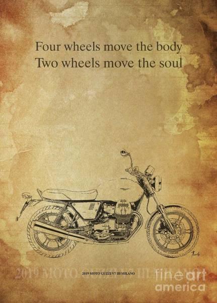 Wall Art - Drawing - 2019 Moto Guzzi V7 IIi Milano Original Artwork Motorcycle Quote  by Drawspots Illustrations