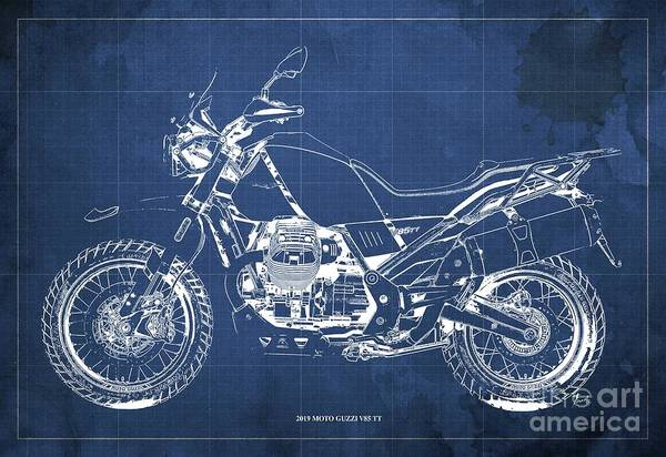 Wall Art - Digital Art - 2019 Moto Guzzi V85 Tt Blueprint, Mid Century Blue Background by Drawspots Illustrations