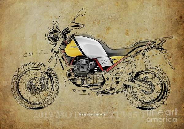 Wall Art - Digital Art - 2019 Moto Guzzi V85 Tt Blueprint, Vintage Background Birthday Gift For Bikers by Drawspots Illustrations