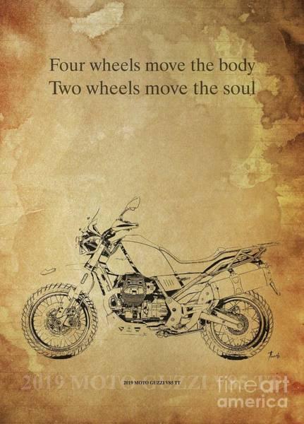 Wall Art - Drawing - 2019 Moto Guzzi V85 Tt, Original Artwork. Motorcycle Quote by Drawspots Illustrations